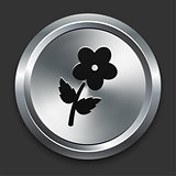 Flower Icon on Metallic Button Collection