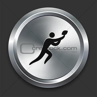 Football Icon on Metallic Button Collection