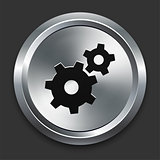 Gear Icon on Metallic Button Collection
