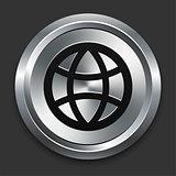 Globe Icon on Metallic Button Collection