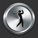 Golf Icon on Metallic Button Collection