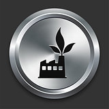 Green Factory Icon on Metallic Button Collection