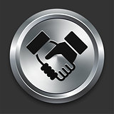 Handshake Icon on Metallic Button Collection