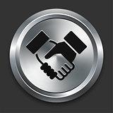 Handshake Icon on Metallic Button Collection