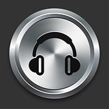 Headphone Icon on Metallic Button Collection