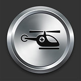 Helicopter Icon on Metallic Button Collection