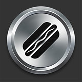 Hot Dog Icon on Metallic Button Collection
