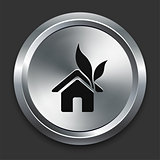 Green House Icon on Metallic Button Collection