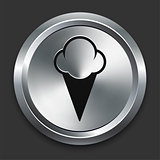 Ice Cream Icon on Metallic Button Collection