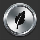 Leaf Icon on Metallic Button Collection