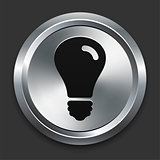Light Bulb Icon on Metallic Button Collection