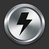 Lightning Bolt Icon on Metallic Button Collection