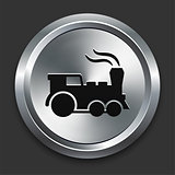 Locomotive Icon on Metallic Button Collection
