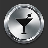 Martini Icon on Metallic Button Collection