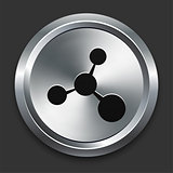 Molecule Icon on Metallic Button Collection