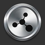 Molecule Icon on Metallic Button Collection