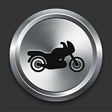 Motorcycle Icon on Metallic Button Collection