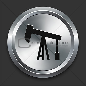 Oil Drill Icon on Metallic Button Collection