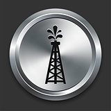 Oild Drill Icon on Metallic Button Collection