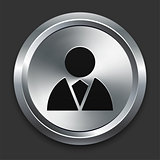 Person Icon on Metallic Button Collection