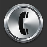 Phone Icon on Metallic Button Collection