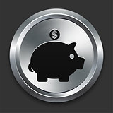 Piggy Bank Icon on Metallic Button Collection