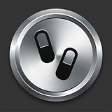 Pill Icon on Metallic Button Collection