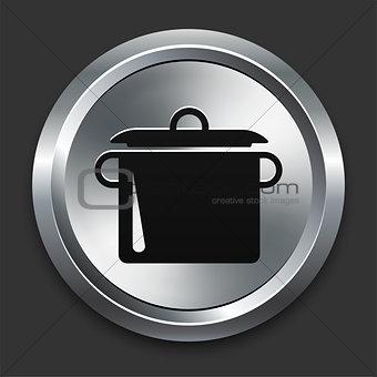 Pot Icon on Metallic Button Collection