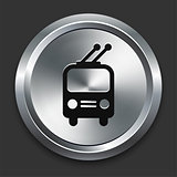 Rail Car Icon on Metallic Button Collection
