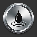 Rain Drop Icon on Metallic Button Collection