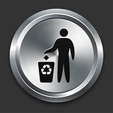 Recycle Trash Icon on Metallic Button Collection