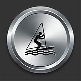 Sail Boat Icon on Metallic Button Collection