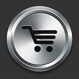 Shopping Cart Icon on Metallic Button Collection