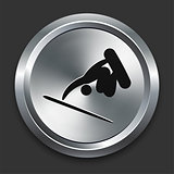 Skateboard Icon on Metallic Button Collection