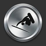 Skateboard Icon on Metallic Button Collection