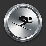Skiing Icon on Metallic Button Collection