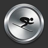 Skiing Icon on Metallic Button Collection