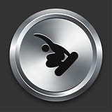 Snowboard Icon on Metallic Button Collection