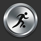 Soccer Icon on Metallic Button Collection