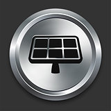 Solar Panel Icon on Metallic Button Collection