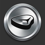 Steak Icon on Metallic Button Collection