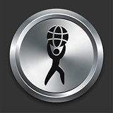 Strength Icon on Metallic Button Collection