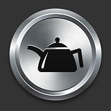 Teapot Icon on Metallic Button Collection