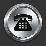 Telephone Icon on Metallic Button Collection
