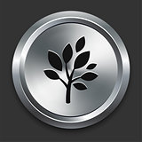Tree Icon on Metallic Button Collection
