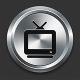Television Icon on Metallic Button Collection