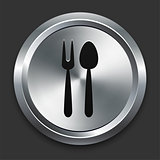Utensil Icon on Metallic Button Collection