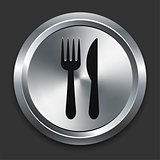 Utensils Icon on Metallic Button Collection
