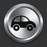 Car Icon on Metallic Button Collection