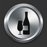 Wine Icon on Metallic Button Collection